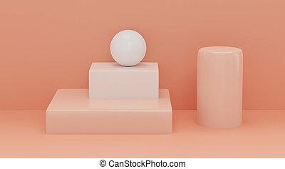 3d, render., coloré, figures., résumé, coloré, balles, géométrique, rouges, cubes, illustration