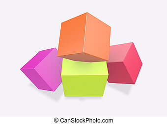 3d render Colorful cubes on white background