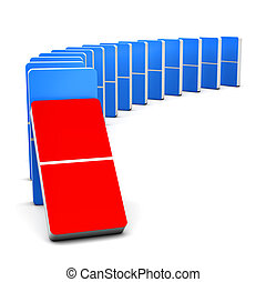"""3D render Colorful Red and Blue Domino for """"Begin concept"""""""