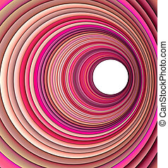 3d render concentric pipes in multiple pink colors
