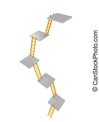3d render concept. few level of ladders, isolated over white background