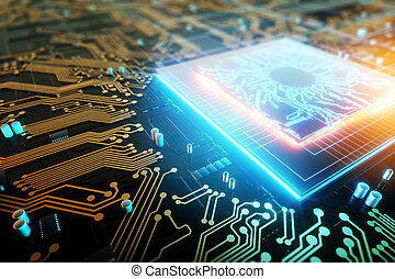 3D render CPU Technological background. Concept circuit board with computer central processing unit. Digital Chip Integrated Communication Processor. Copy space.