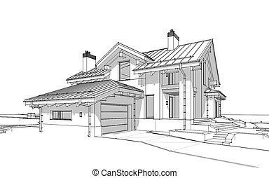 Croquis chalet confortable render maison moderne for Modernes haus gezeichnet