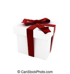 3d, render, de, branca, caixa presente, com, arco vermelho