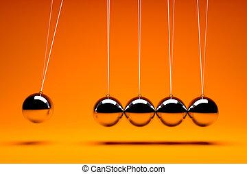 3d, render, de, cinco, metal, equilibrar, bolas
