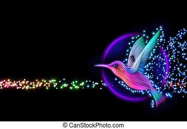 3d, render, de, colibri, pájaro, -, colibrí, con, estrellas