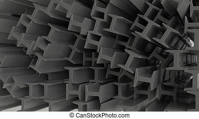 3d, render, de, construção, metal, vigas