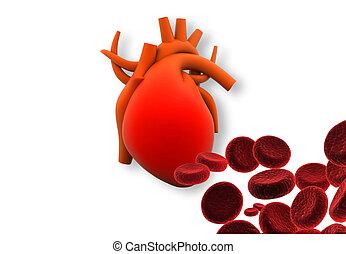 3d, render, de, coração, com, vermelho, celas