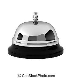 3d, render, de, cromo, campana de recepción