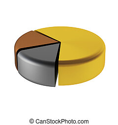 3d, render, de, graphique circulaire
