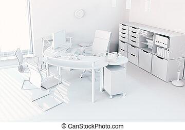 3d, render, de, moderne, intérieur bureau