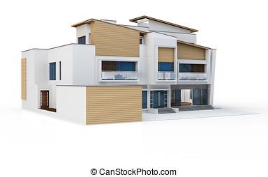 3d, render, de, moderno, casa
