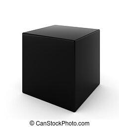 3d, render, de, negro, cubo, blanco