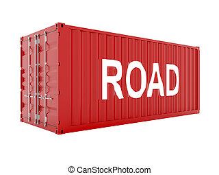 3d, render, de, rouges, récipient cargaison, à, route, texte