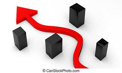 3d, render, de, seta vermelha, em movimento, através