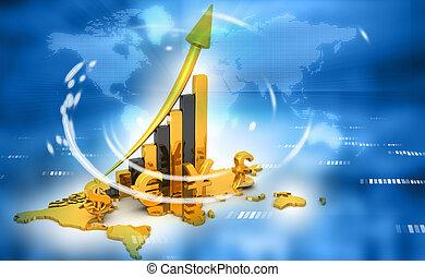3d, render, de, symboles monétaires, à, planisphère