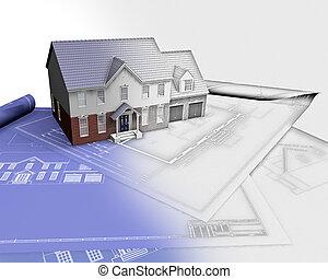 3d, render, de, um, casa, ligado, desenhos técnicos, com,...