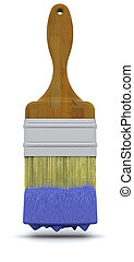 3d, render, de, um, pintar escova