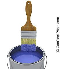 3d, render, de, um, pintar escova, e, lata, isolado, branco