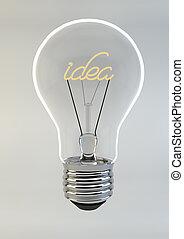 3d, render, de, un, bombilla, escritura, idea, dentro
