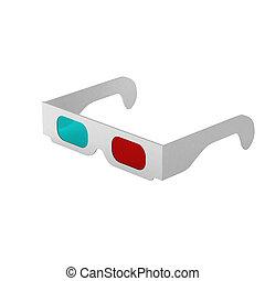 3d, render, di, 3d occhiali