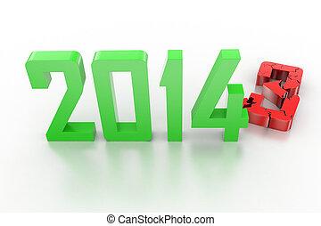 3d, render, di, anno nuovo, 2014, -, 2013