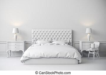 3d, render, di, bello, camera letto