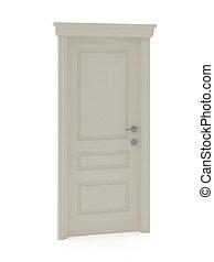 3d, render, di, bianco, classico, porta