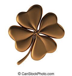 3d, render, di, bronzo, trifoglio
