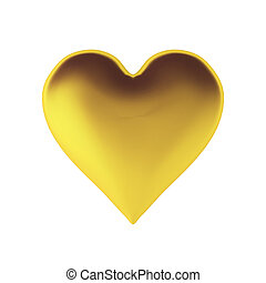 3d, render, di, dorato, cuore
