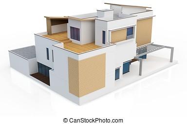 3d, render, di, moderno, casa