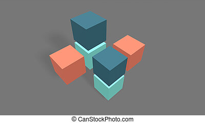 3d render Different color Cube on gray background