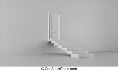 3d render door with steps in a bright room
