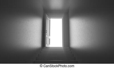 3d render door with steps in a dark corridor