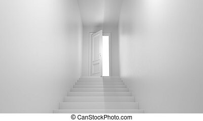 3d render door with steps in the corridor