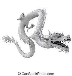 3d render dragon clay texture - 3d illustration dragon...