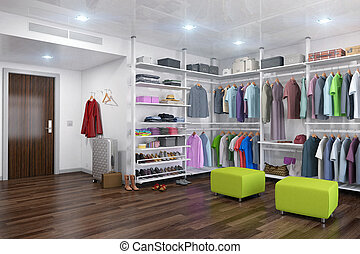 3d render - dressing room with women's and men's clothing.