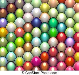 3d render easter egg in multiple bright color
