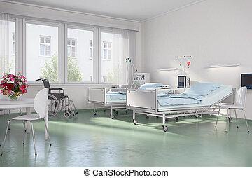 3d render - empty hospital room