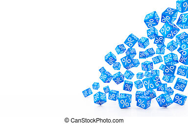 3d render - falling blue cubes with percent signs