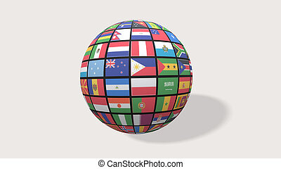 3d render Flags of the world in globe on white backgroung