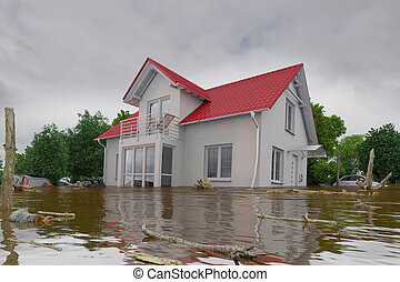 3d render - flooding blue house - 3d render of a flooding...