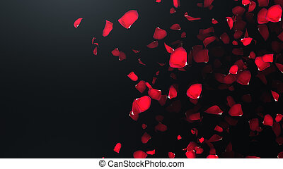 3D render Flying petals of roses with on an black background