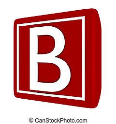 3d Render Font Set 1 Letter B