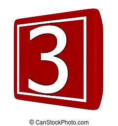 3d Render Font Set 1 Number 3