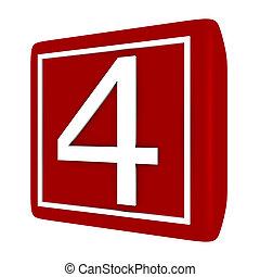 3d Render Font Set 1 Number 4