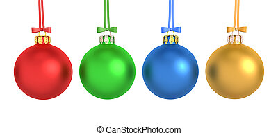3d Render - Four Colorful Christmas Balls - 3d rendering of...