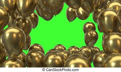 3d render frame of golden balloons on a green background