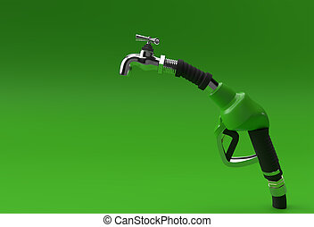 3D Render fuel pump nozzle with tap isolated on Color Background.