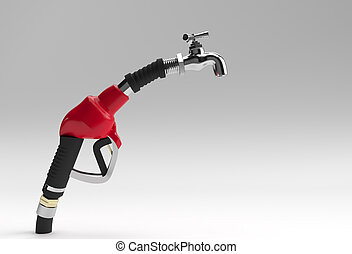 3D Render fuel pump nozzle with tap isolated on White Background.
